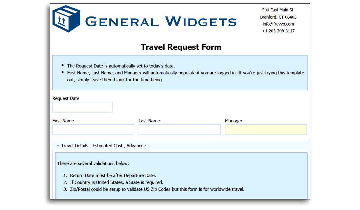 Employee Completes Request Form