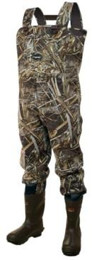Frogg Toggs Amphib Neoprene Camo Chest Wader and Rubber Boots with Cleated Outsoles.