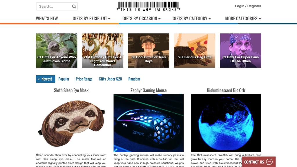 homepage do This is Why I'm Broke, uma das ideias de pequenos negócios