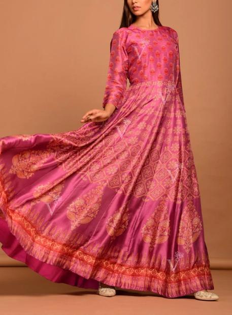 Pink Vasansi Silk Printed Anarkali Gown