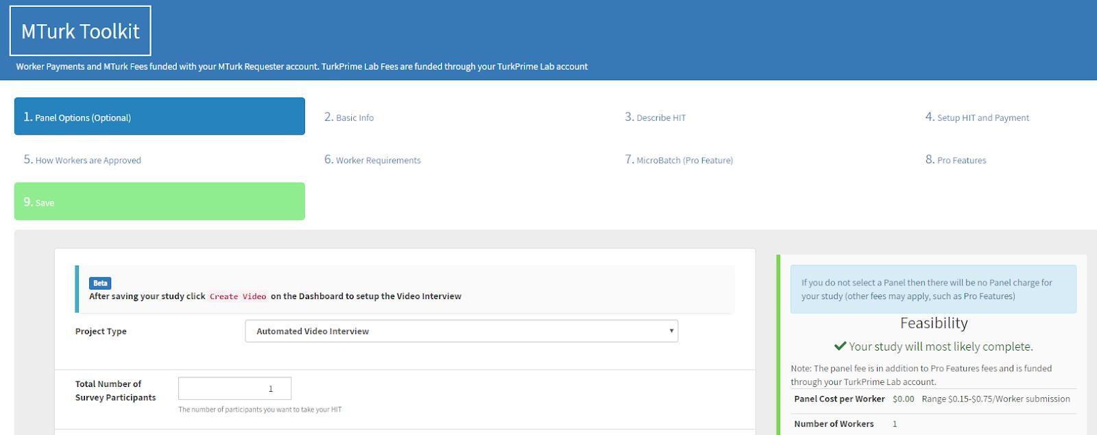 TurkPrime MTurk Toolkit setup page