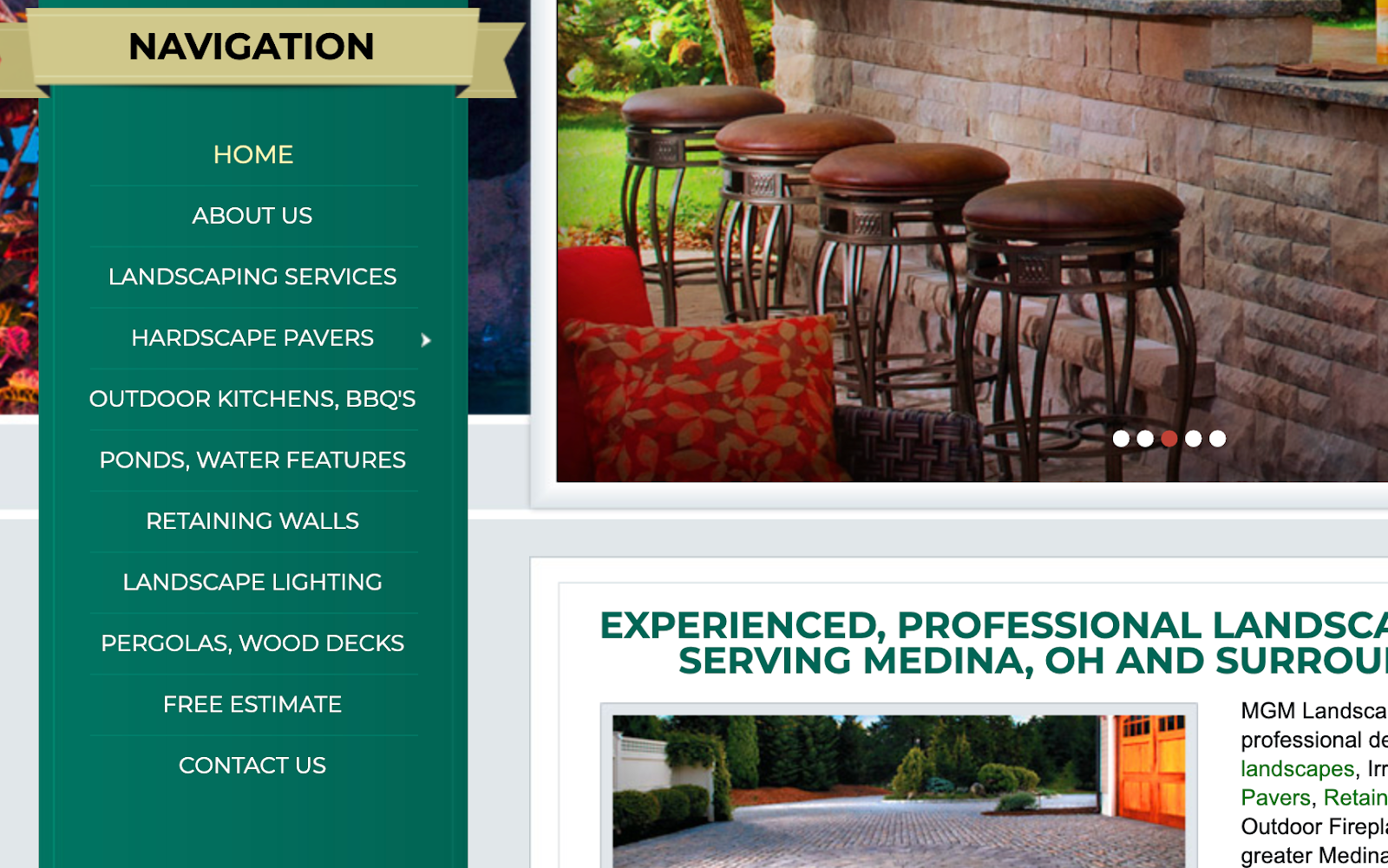 Website navigation screenshot from a landscaping company.