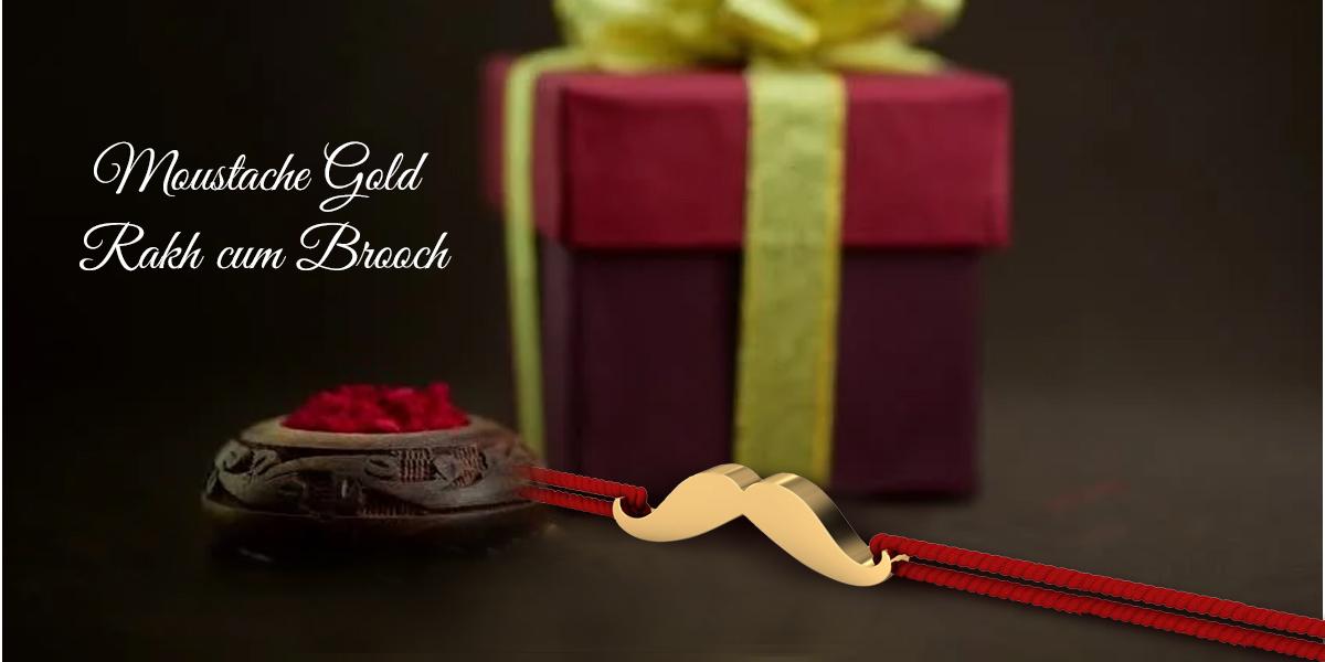 moustache gold rakhi design