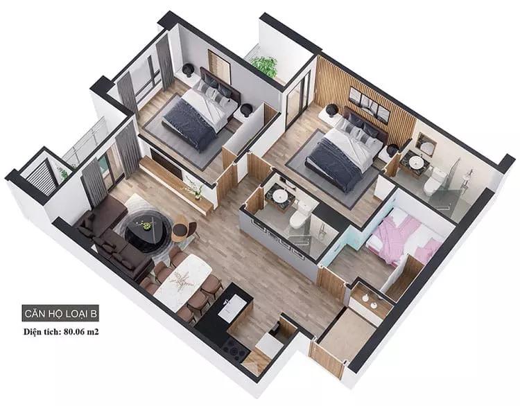 Căn hộ 2 phòng ngủ được thiết kế với đầy đủ khong gian sống thuận tiện
