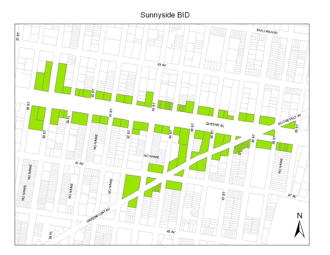 Properties in green are included within the Sunnyside Shines BID