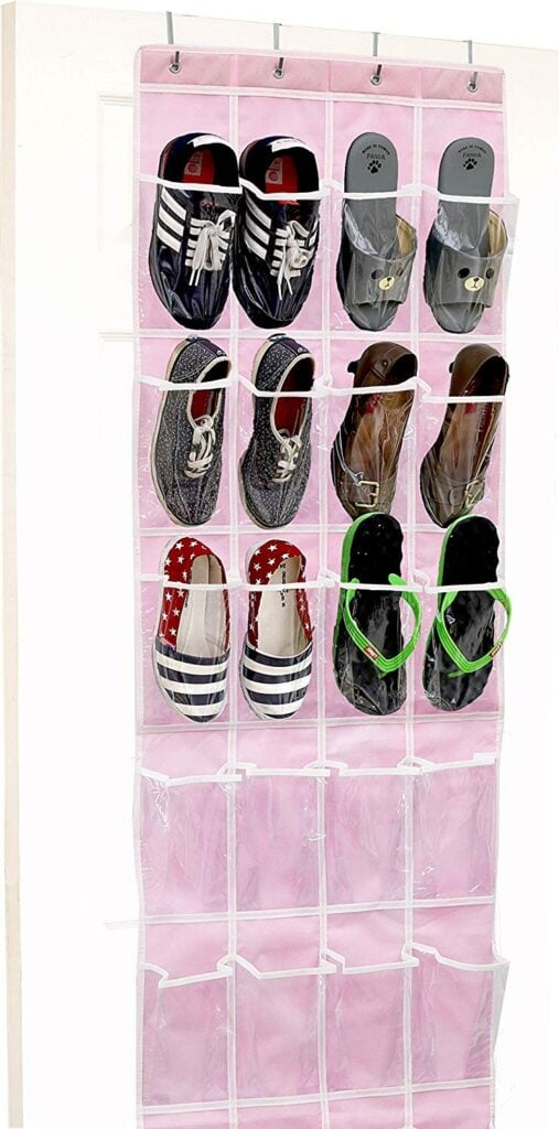 Room organization tips - pink shoe organizer with shoes