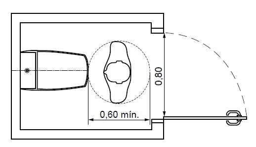 Boxe comum com porta abrindo para o exterior.