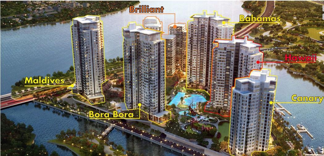 Hình ảnh phối cảnh tổng thể dự án căn hộ Đảo Kim Cương quận 2.