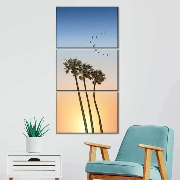 Palm Trees At Sunset Multi Panel Canvas Wall Art