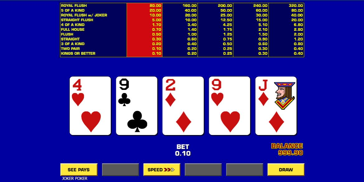 Online slots casino game Game King Video Poker by IGT