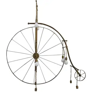 Life-sized brass penny farthing chandelier