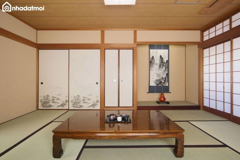 Ưu tiên vật dụng bằng gỗ, tre, nứa khi thiết kế phòng khách phong cách Nhật