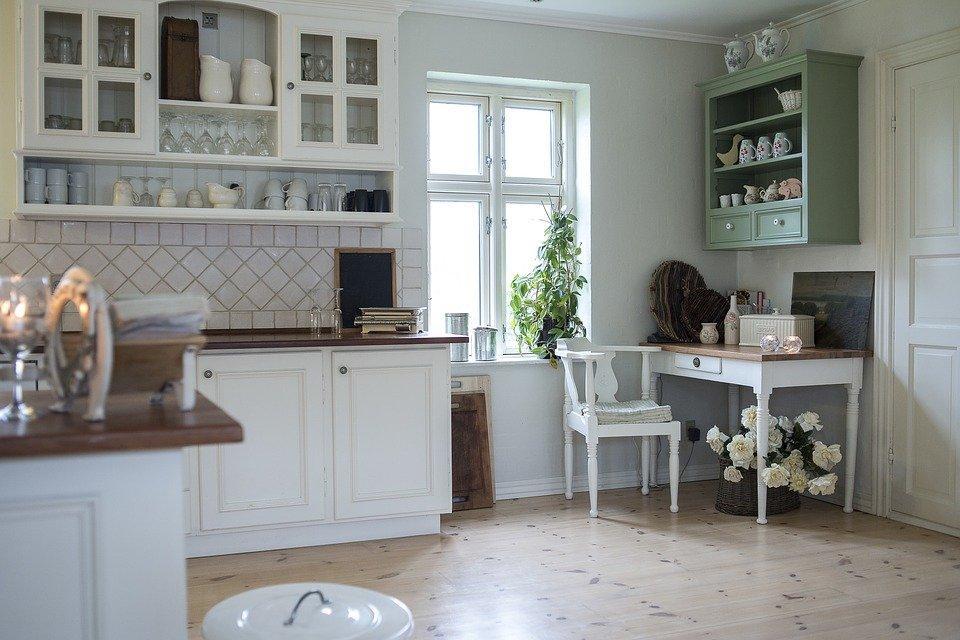 Open shelves in a kitchen