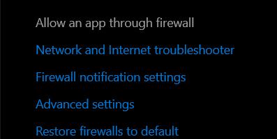 select the Allow an app through Firewall option.