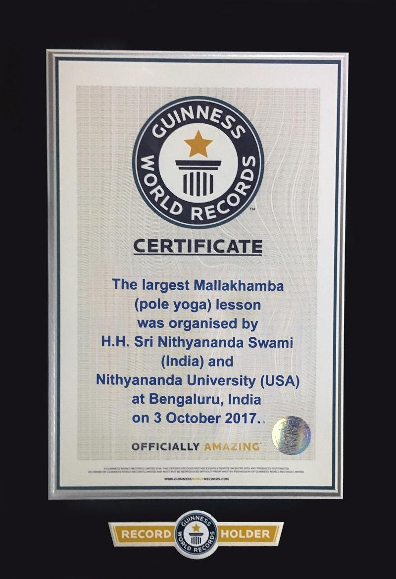 October 3, 2017: His Divine Holiness was awarded Guinness World Record for the largest pole yoga (Shivastamba Yoga<sup>SM</sup>) class.