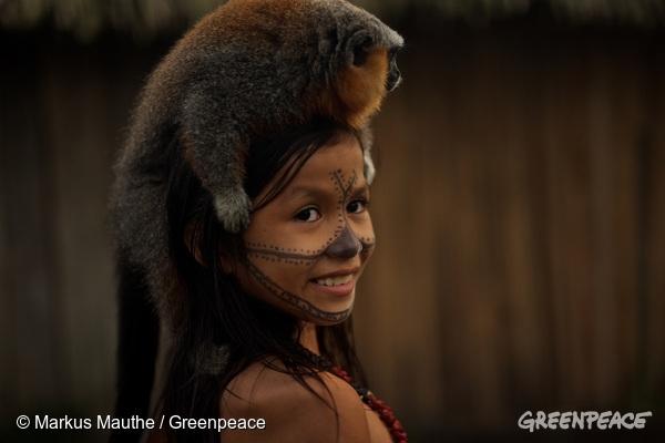 Munduruku Child in Sawré Muybu Village in the Amazon