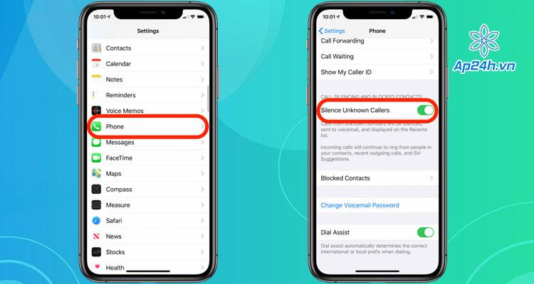 Chan cuoc goi ngoai danh ba tren iOS
