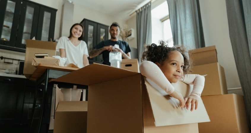 Family packing and preparing for a move.