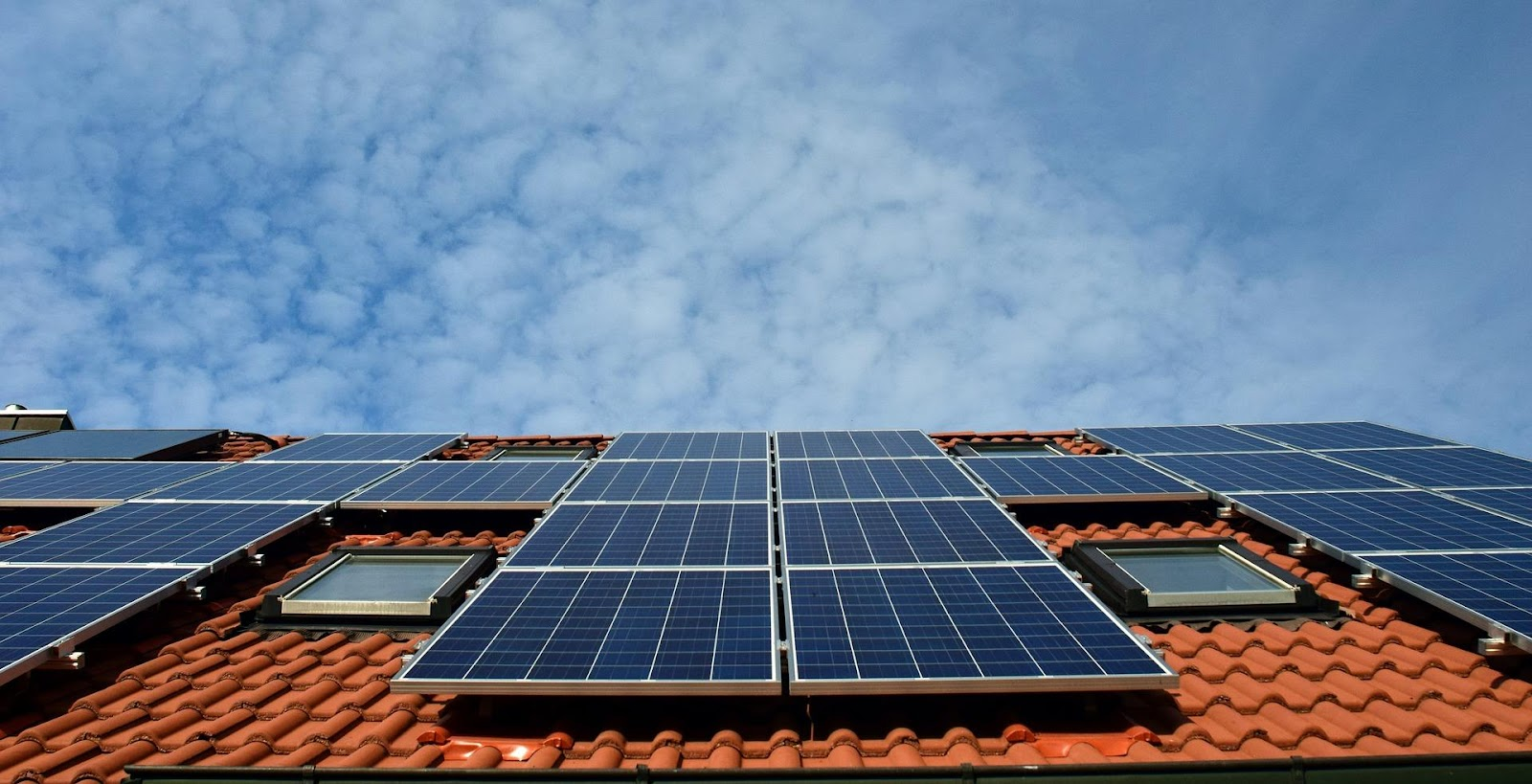 Multiple solar panels on the roof of a house