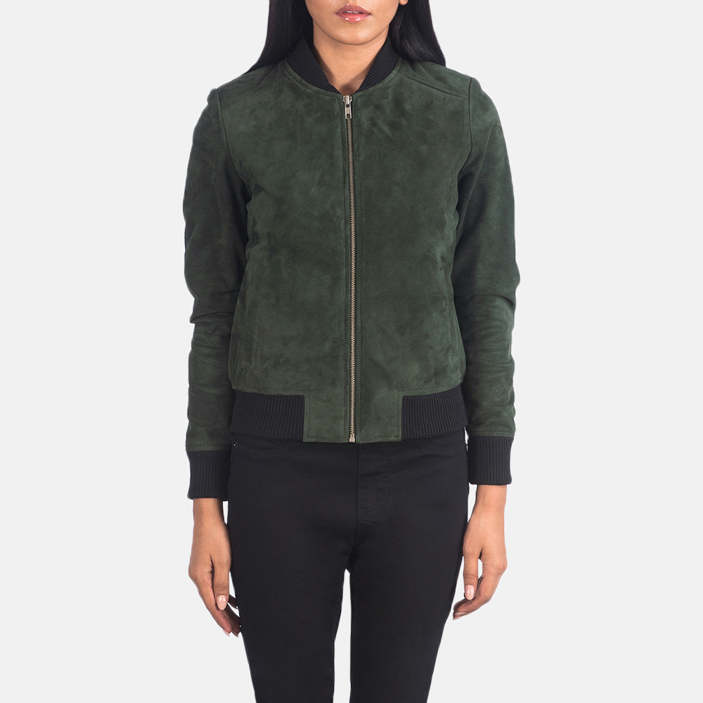 Bliss Green Suede Bomber Jacket