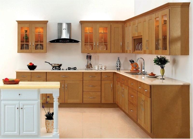 mẫu tủ bếp đẹp hiện đại bằng gỗ tần bì