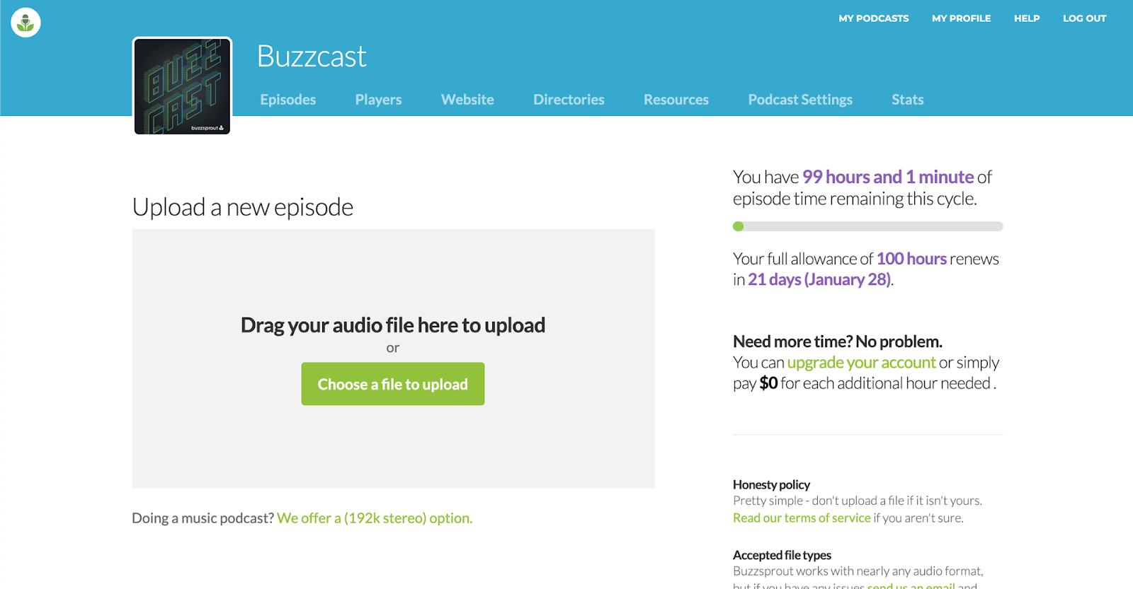 uploading episodes to Buzzsprout