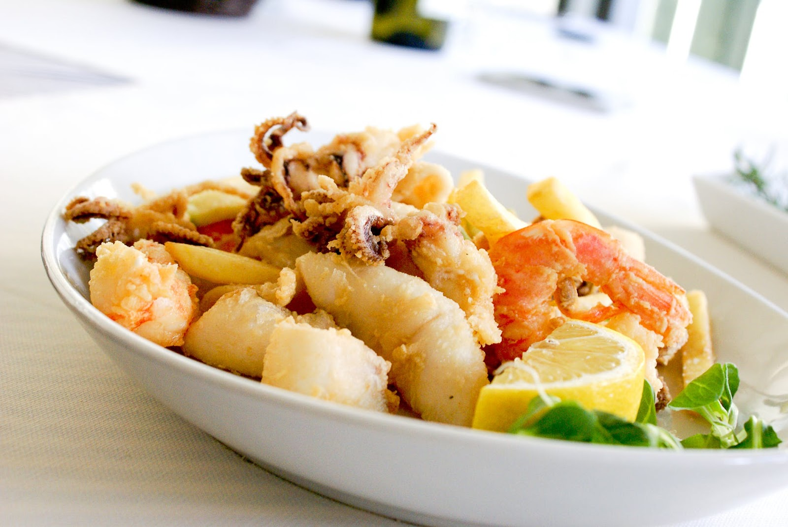 seafood dish with calamari and shrimp