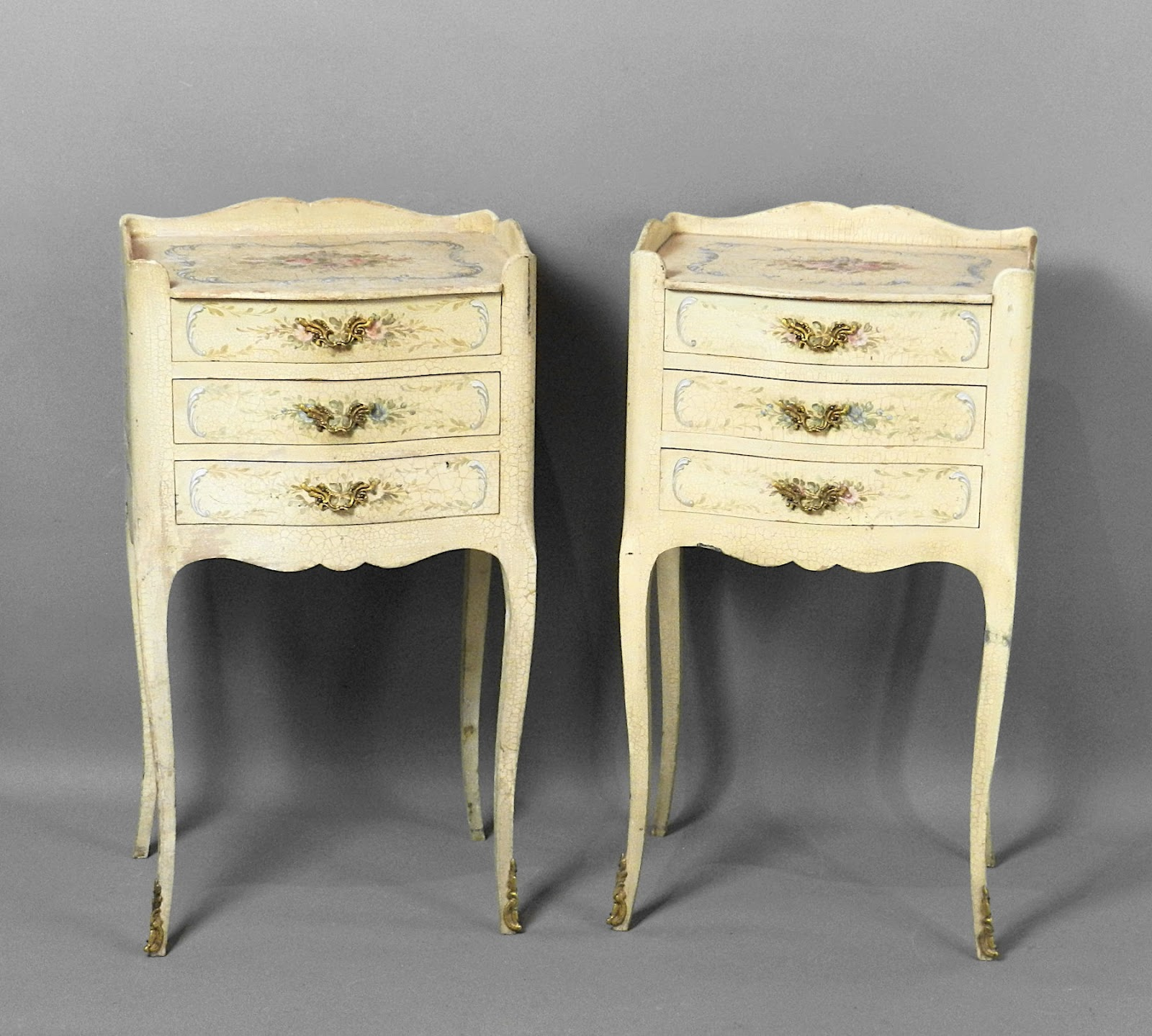 Shabby chic French bedside cabinets