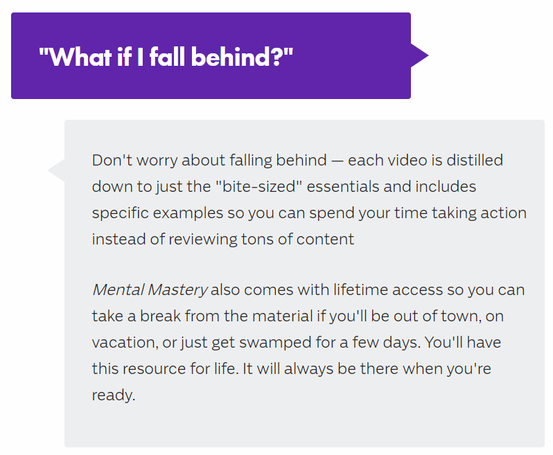 Frequently asked question di landing page Mental Mastery