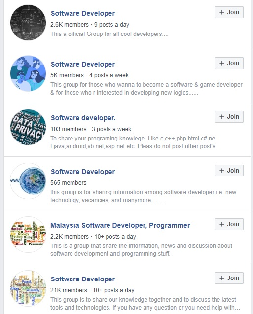 Screenshot of a list of Facebook groups about Software Development.