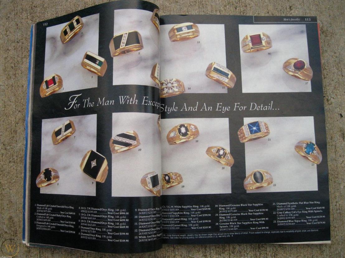 Marketing w branży jubilerskiej - zdjęcie katalogu biżuterii z 1996 roku.