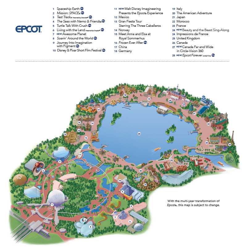Epcot map from Disney in the Heyday Travel Company.