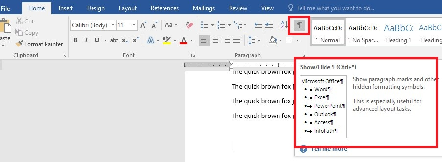 Page Break in the document