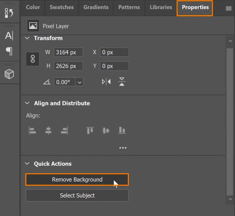 Under Quick Actions, click the Remove Background button