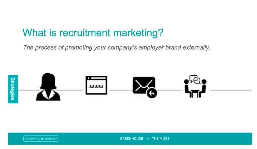 Sample slide on what is recruitment marketing from Greenhouse and The Muse Employer Branding vs. Recruitment Marketing webinar