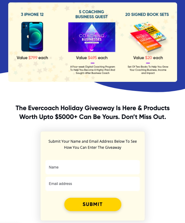 Holiday giveaway by evercoach.com