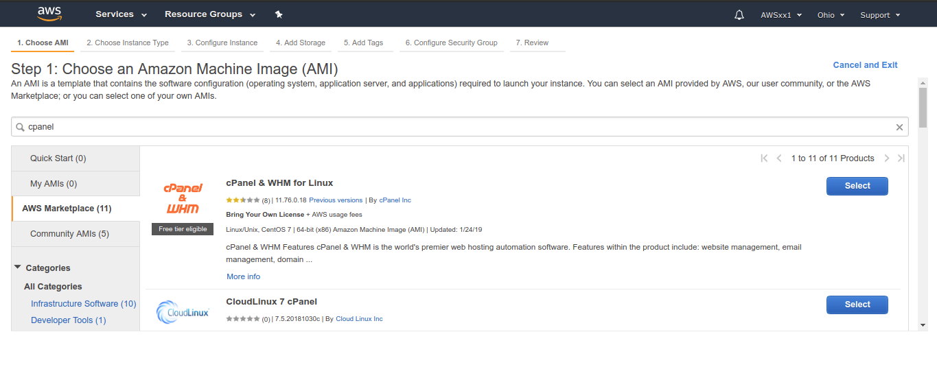 Steps to build a cPanel hosting environment on Amazon AWS