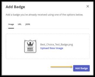 Screenshot of Add Badge page