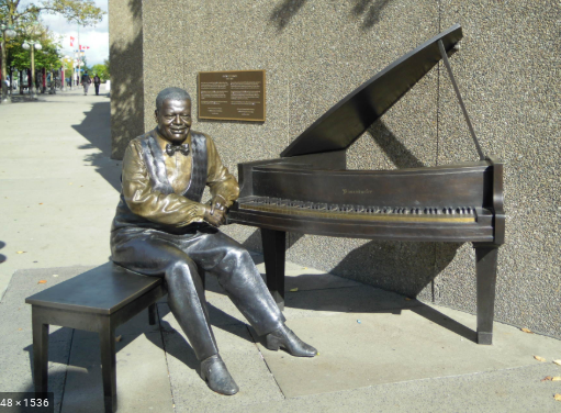 Jazz legend, Oscar Peterson, statue in Montreal, Quebec.