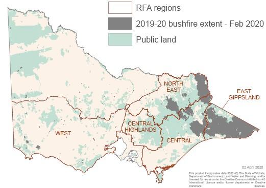 2019-20 bushfire extent & RFA regions