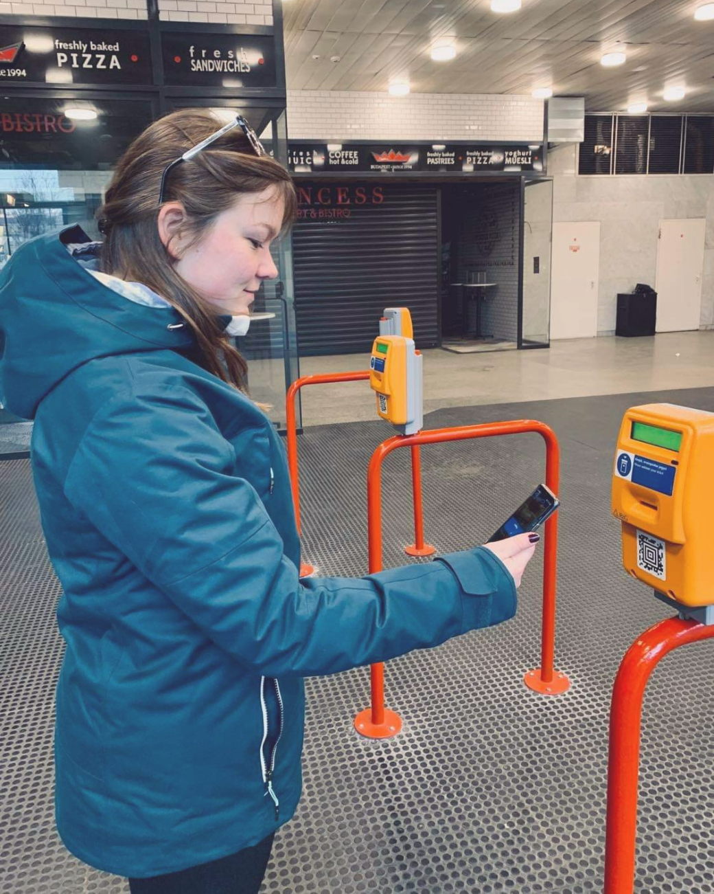 How to Use Mobile Tickets in Budapest: Pictured scanning QR code