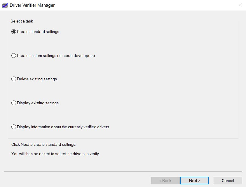 The Driver Verifier Manager window