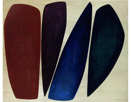 Anna-Eva Bergman, Quatre formes, 1955, huile sur toile, Fondation Hartung-Bergman, Antibes