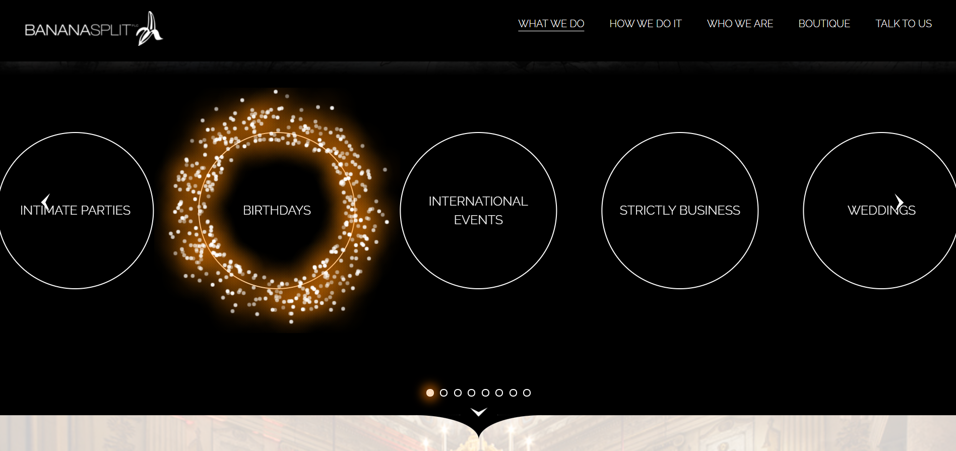 Portfolio page example of an event management website.