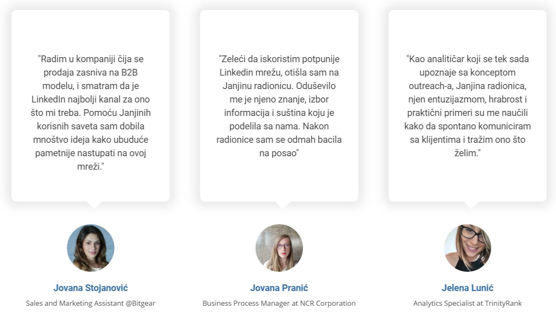 Janja Jovanovic testemonijali sa radionica