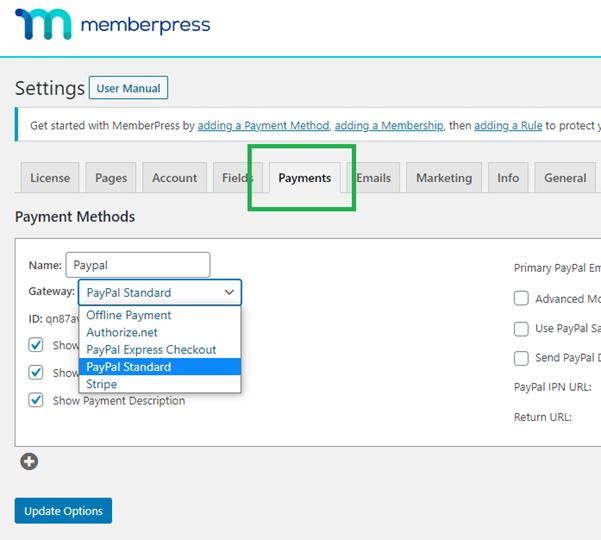 memberpress select payment gateways