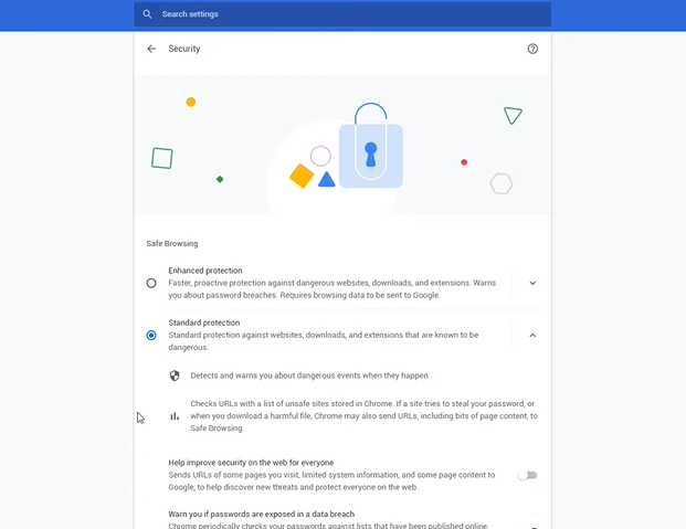 standard protection is enabled by default on chrome