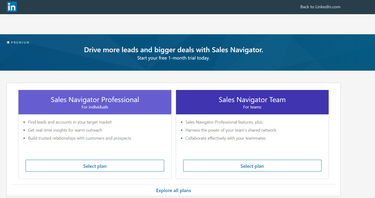 LinkedIn Sales Manager is available for individuals and businesses