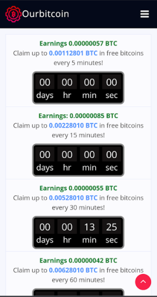 OurBitcoin Crypto Faucet Claim Page - 5, 15, 30, and 60 minute faucet claims