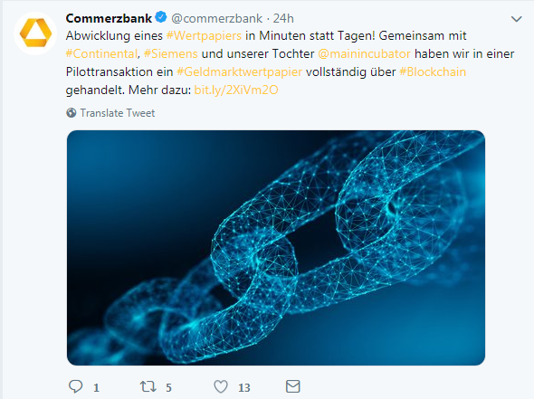 Commerzbank, Continental and Siemens blockchain experiment